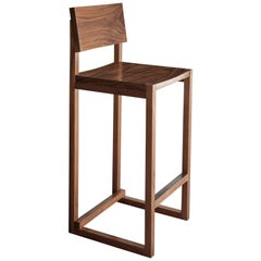 SQ2 Bar Stool, Walnut Hardwood, Brass Kick Plate