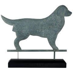 Golden Retriever Carved Silhouette with Verdigris Paint