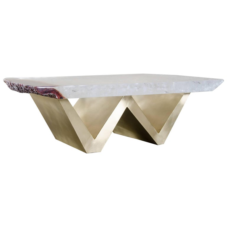 "Crystal Table with Brass ""W"" Base by Robert Kuo, Limited Edition, In Stock"