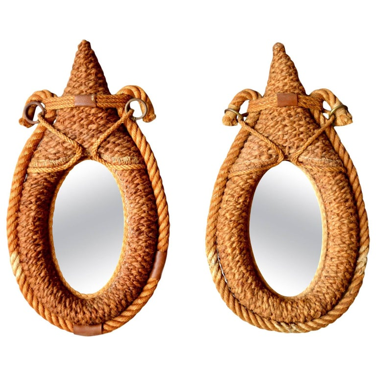 Pair of Petite French Rope Mirrors in the Style of Audoux and Minet