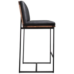 DGD Bar Stools (Set of 2), Black, Grey Powder Coated Steel, Walnut, Leather