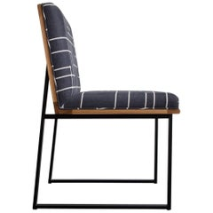 DGD Dining Chairs (Set of 2), Black, Powder Coated Steel, White Oak, Upholstery