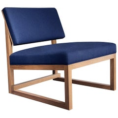 SQ Lounge Chair, White Oak Hardwood Frame, Blue Wool Upholstery