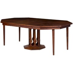 """Intaglio"" Faceted Octagon Inlaid Walnut Dining Table by Foster-McDavid"
