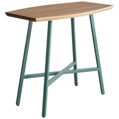 Boat End Table, Green Powder Coated Steel, Ash Top