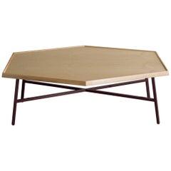 Hex Coffee Table, Burgundy Powder Coated Steel, Ash Top