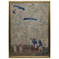 Hand-Painted Chinese Wall Paper Panel Painting