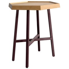 Hex End Table, Burgundy Powder Coated Steel, Ash Top