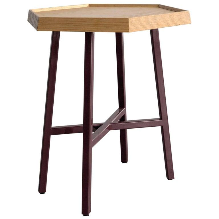 Hex End Table, Burgundy Powder Coated Steel, Ash Top
