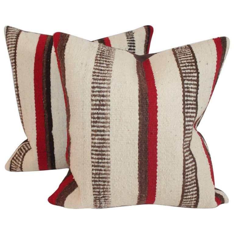 Striped Navajo Saddle Blanket Pillows, Pair