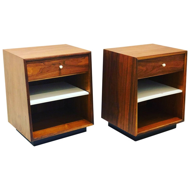 Pair of American Midcentury Walnut Nightstands by Kipp Stewart for Drexel