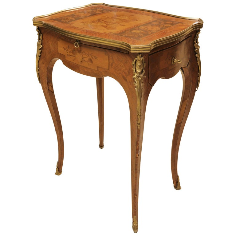 French 19th Century Louis XV Style Marquetry Inlaid Side Table Writing Desk
