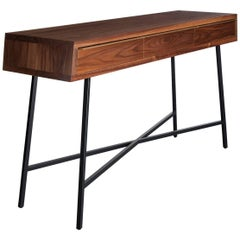 Tzoid Console, Pier Table, Black / Grey Powder Coated Steel, Walnut, Brass