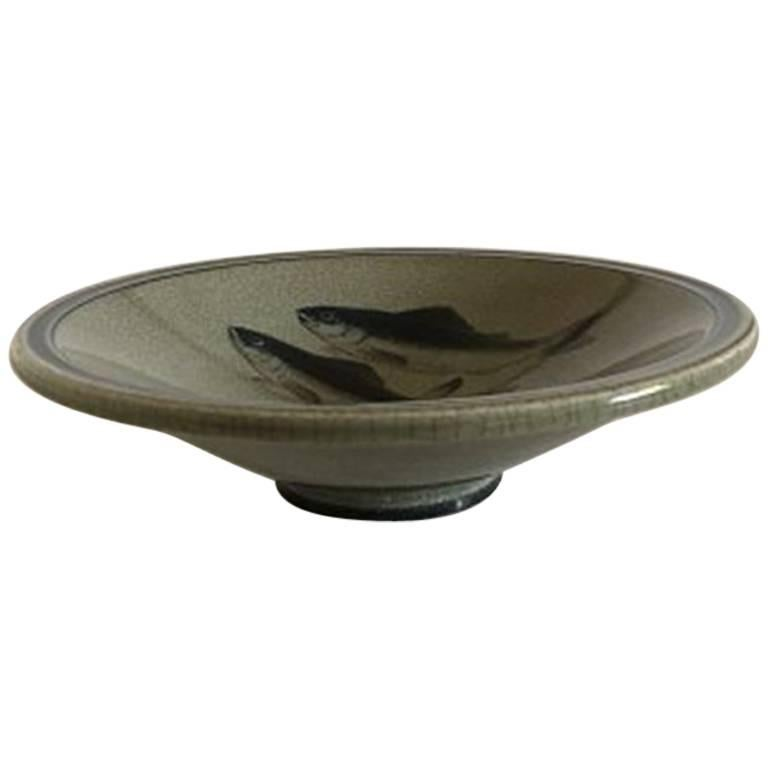 Royal Copenhagen Unique Bowl with Fish by Oluf Jensen from 1932