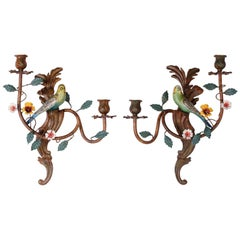 Pair of Italian Tole Bird Sconces