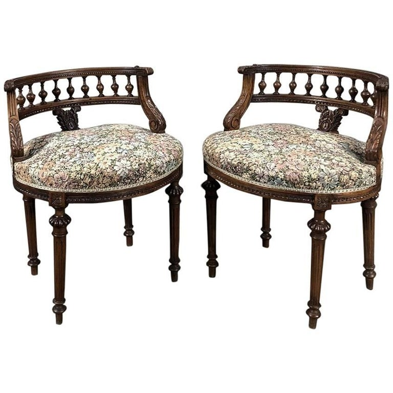 Pair of 19th Century French Louis XVI Vanity Stools