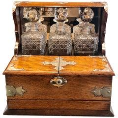 Antique English Cut Crystal Golden Oak Tantalus and Games Compendium, circa 1880