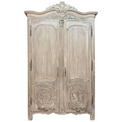 18th Century Country French Louis XVI Period Whitewashed Armoire, circa 1780
