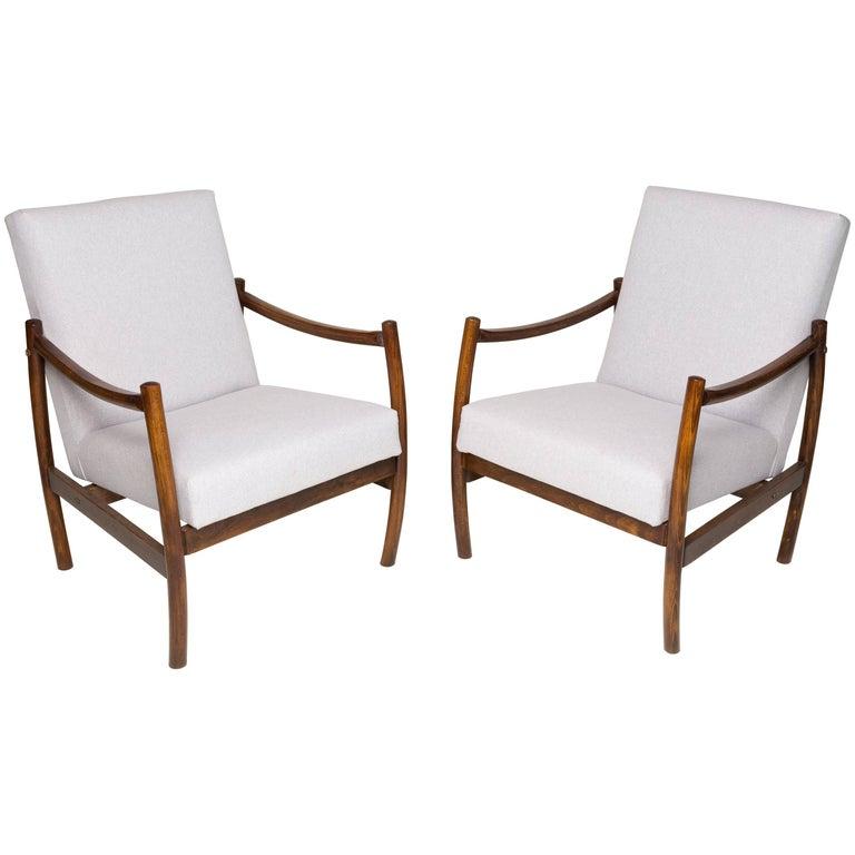 Pair of Beige Club Armchairs, 1960s