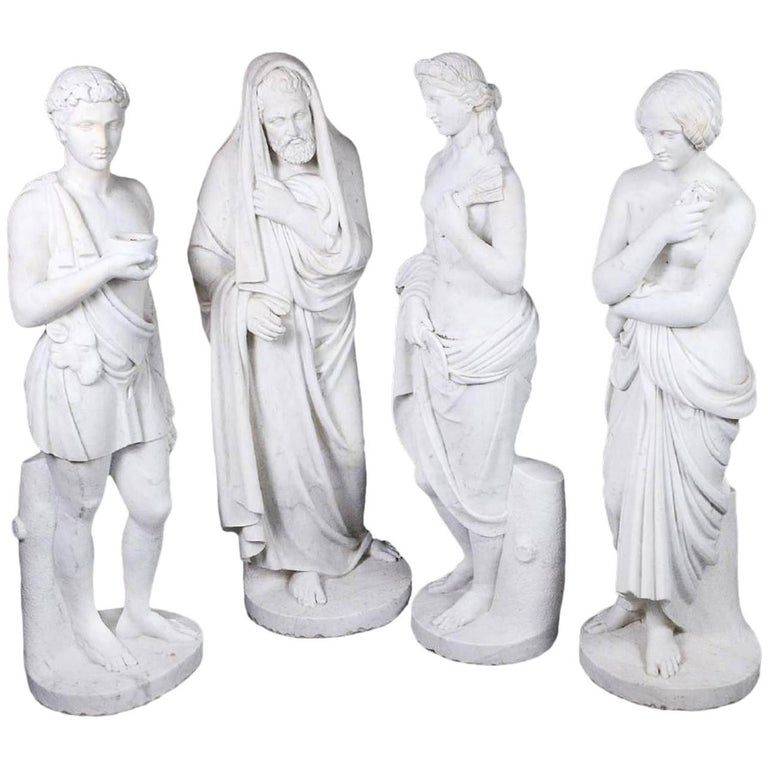 Four Marble Statues of the Four Seasons For Sale