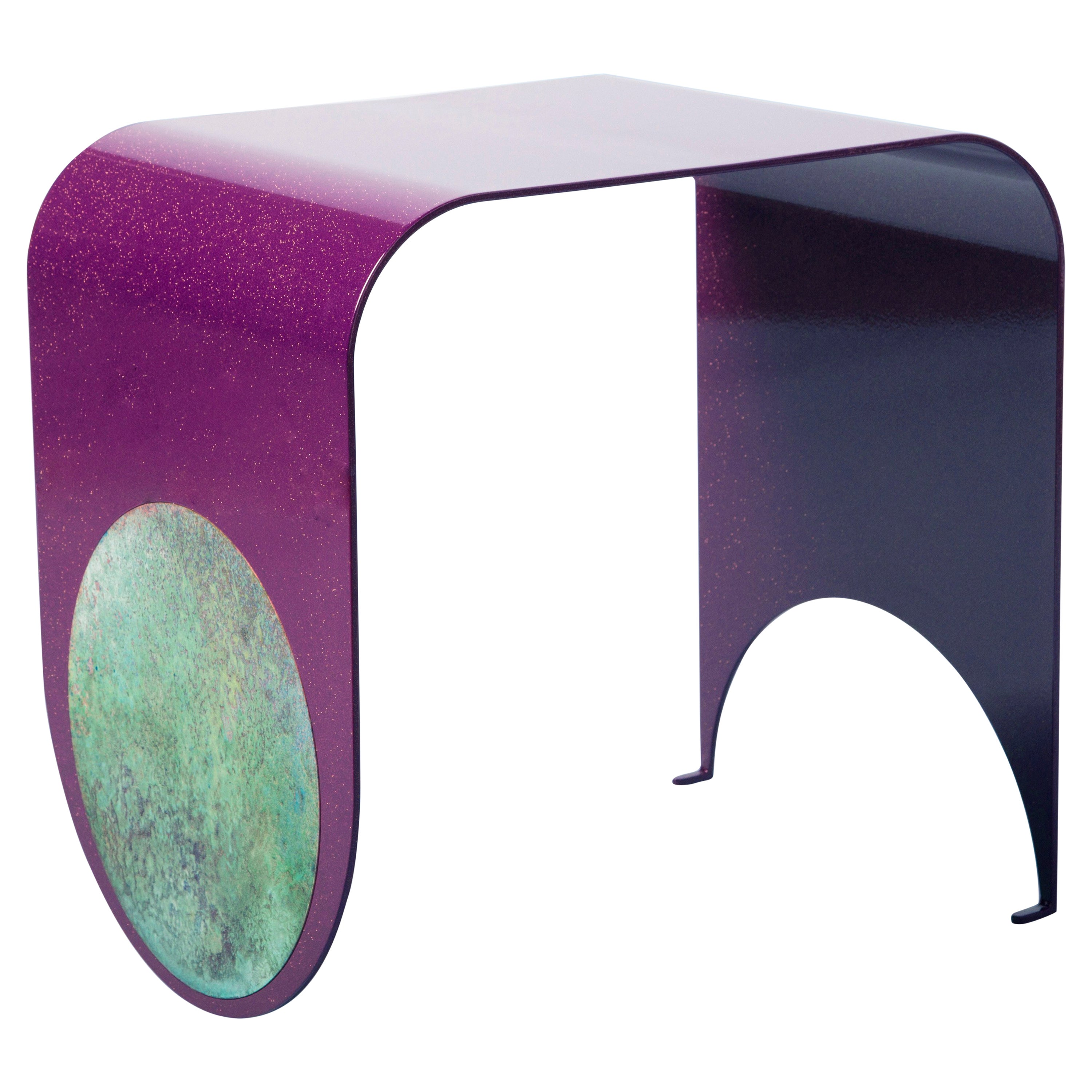 Thin Stool in Contemporary Powdered-Coated Steel with a Brass Patina Inlay