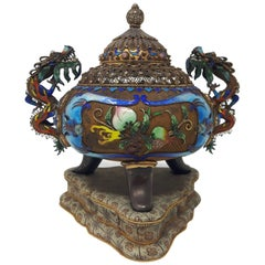 Gilt Filigree and Enamel Incense Burner and Cover