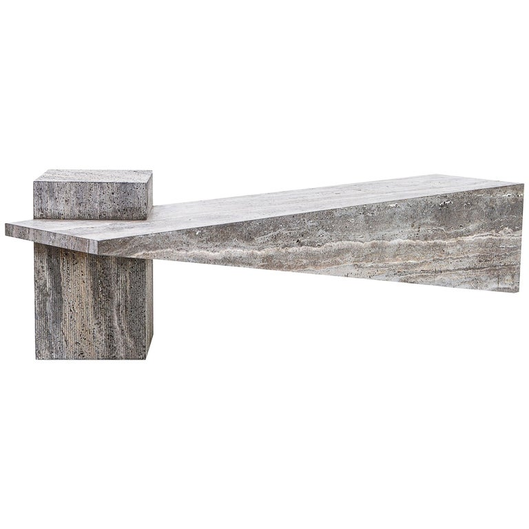 Slimstone Bench in Marble, Minimalist Brazilian Design For Sale