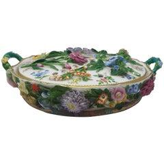 19th Century Flower Encrusted Minton Pot -Pourri
