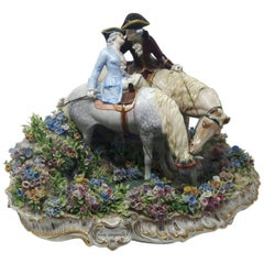 Rare Large 19th Century Porcelain Group of Lovers