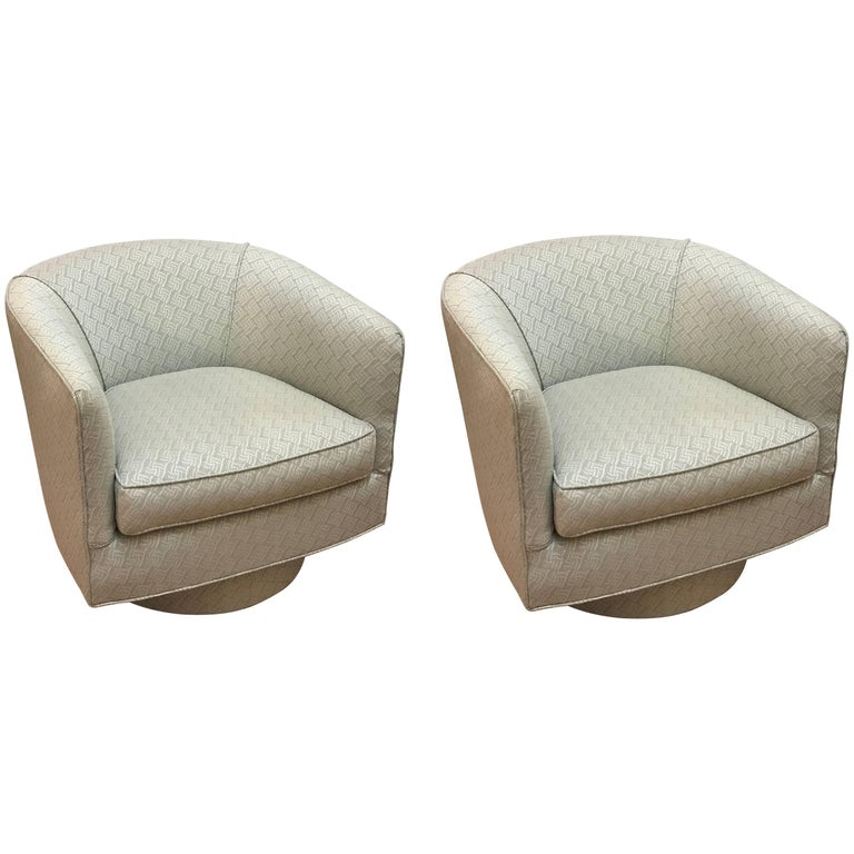 Pair of Milo Baughman Style Swivel Chairs
