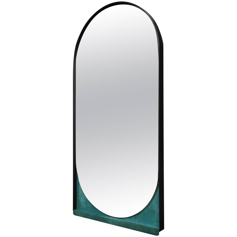 Slip Mirror in Contemporary Blackened Steel and Patinated Bronze