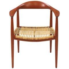 """Hans J. Wegner """"Round"""" Caned Armchair for Johannes Hansen"""