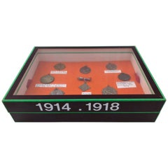 First World War Medals, France and Belgium in a Display Box, Set of Nine