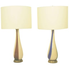 Pair of Striped Murano  Table Lamps for Venini