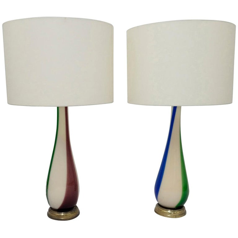 Pair of Striped Murano Table Lamps for Venini For Sale