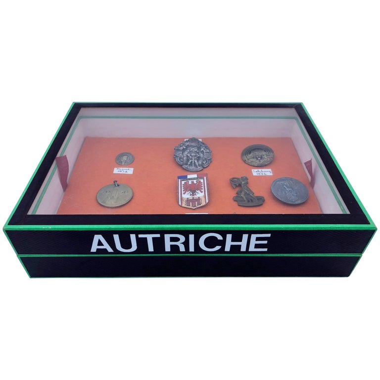 Set of Nine Austrian Commemorative Medals in a Display Box, Mid-20th Century