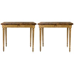 Pair of 18th Century Italian Giltwood and Rouge Marble Louis XVI Style Consoles