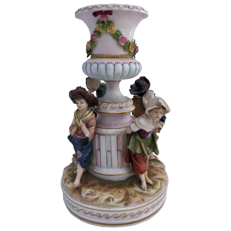 French Antique Saxe Porcelain Figurine Group of Four Children, 1800s