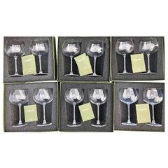 Christofle Set of 12 Burgundy Crystal Glasses, Model Vinea