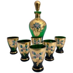 French Lorraine Handblown, Hand-Painted Enameled Liquor Set, Late 1800s