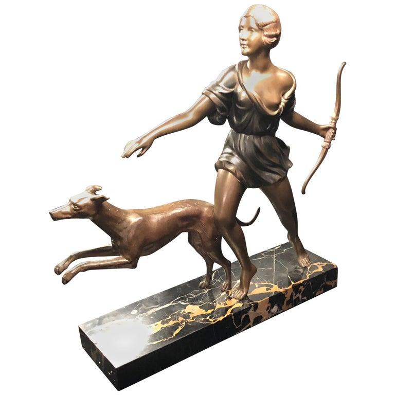 French Art Deco Diana Greyhound Bronze by Ignacio Gallo Sculpture For Sale