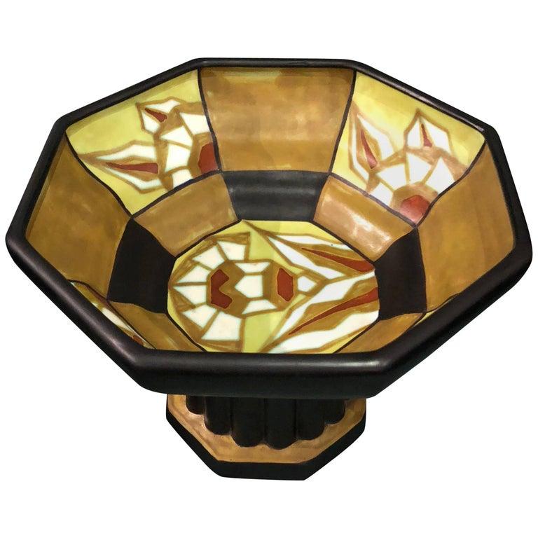 Catteau Geometric Large Pedestal Bowl Boch Belgian Ceramic