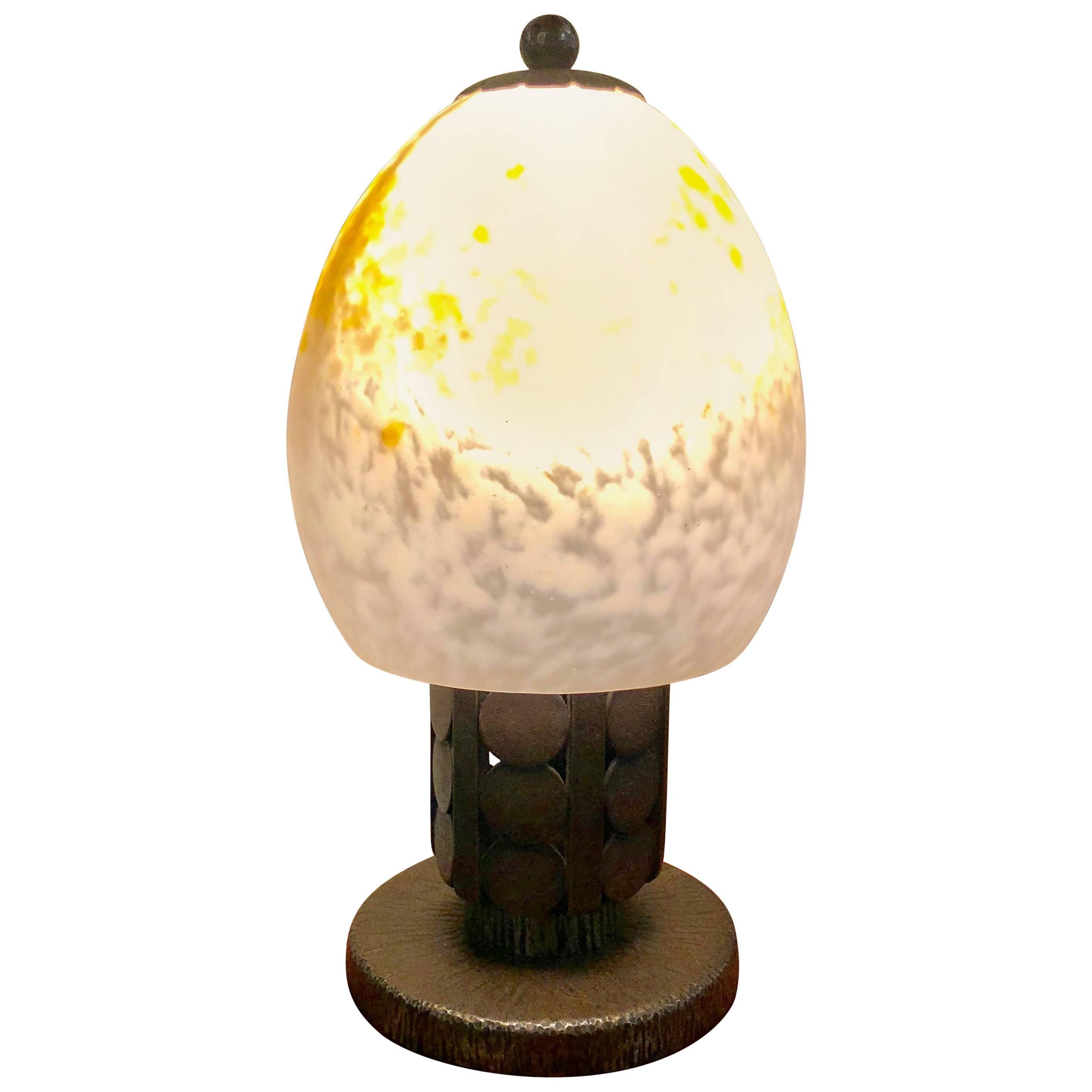 Art Deco Schneider Katona Iron Table Lamp