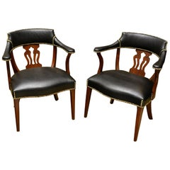Gorgeous Pair of Modern English Mahogany and Leather Captains Chairs