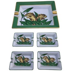 Limoges Porcelain Ashtrays of Panthers, Set of Five