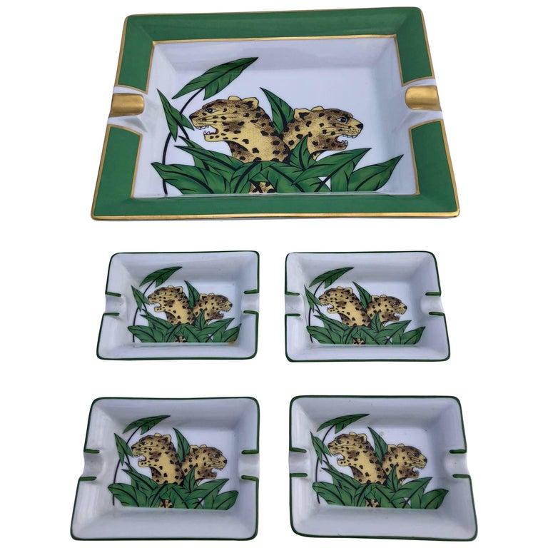 Limoges Porcelain Ashtrays of Panthers, Set of Five For Sale