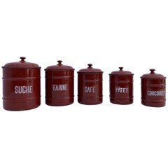 French Enamelware Cannister Set of Five with Lids in Brown Color, Mid-1900s