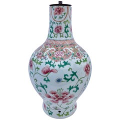 Pink/Green Floral Design Faïence Chinese Vase Transformed into Lamp, Late 1800s