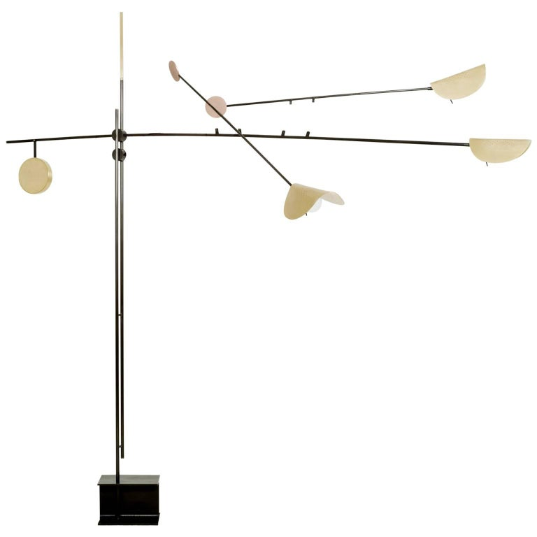 Moon Extra Large Floor Lamp in Iron, Brass and Copper, Three Head Lights