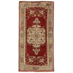 Vintage Turkish Oushak Accent Rug with Jacobean Style